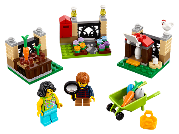 Set out on the LEGO® Easter Egg Hunt with this seasonal set, featuring a henhouse, flower garden and vegetable garden with fun hiding places, plus 2 minifigures.