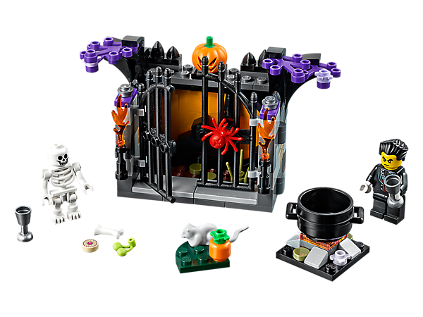 Help the vampire create some Halloween refreshments with this scary LEGO® set, including a skeleton with pumpkin head, fireplace, cauldron and buildable accessories.