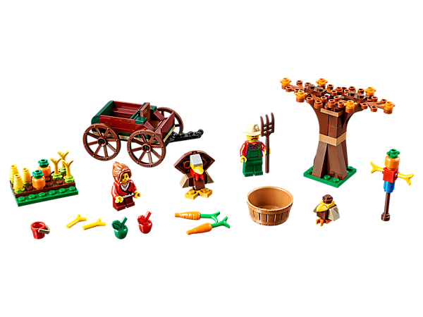 Enjoy the magic of Thanksgiving with this fun LEGO® set, featuring 2 minifigures in a harvest setting with their carriage and tools, plus a buildable turkey, scarecrow and a bird.