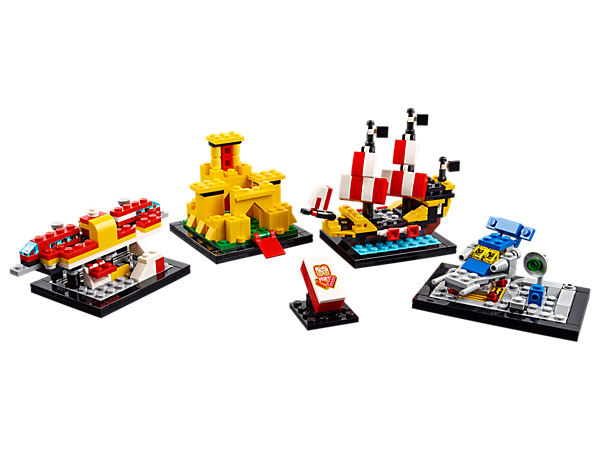 <p>Celebrate 6 decades of building fun with 4 micro versions of the most iconic LEGO® builds of the past 60 years, comprising the awesome Airport Shuttle, famous Yellow Castle, Black Seas Barracuda and the Galaxy Explorer.</p>