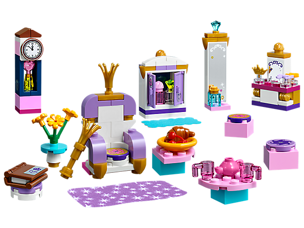 Make your castle fit for a Disney Princess with this LEGO® l Disney Castle Interior Kit, featuring buildable furniture, household items, fabric rug and blanket, and stickers.