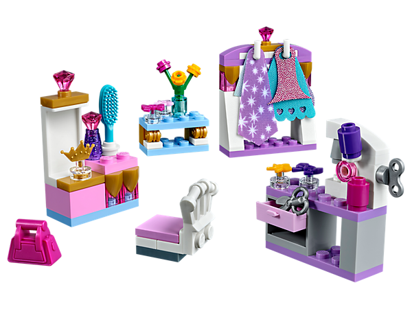Show off your tailoring skills with this LEGO® l Disney Mini-Doll Dress-Up Kit, featuring a buildable sewing studio, dressing table, clothes rail and assorted accessory elements.