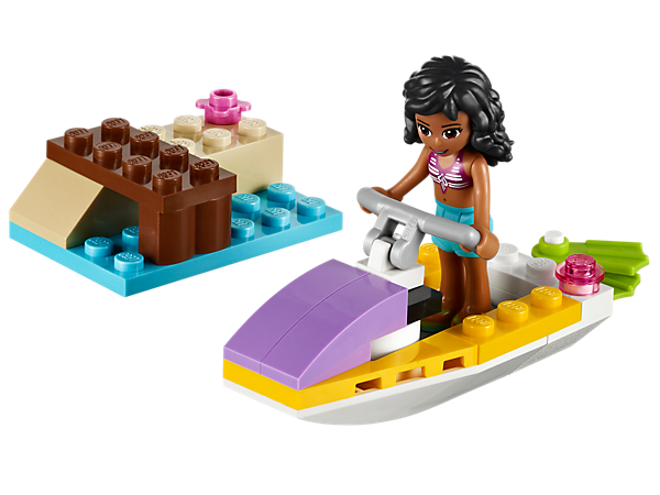 Step off of the buildable dock and onto the water scooter with Kate for fast fun in the sun, with flippers for underwater exploring!
