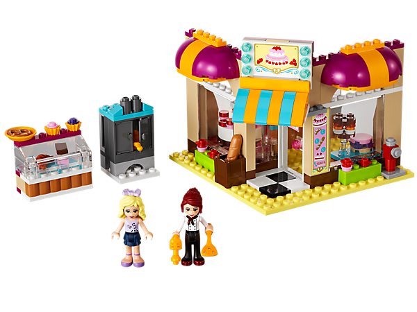 Build a sweet corner cake shop with Mia in the Downtown Bakery with food accessories, an opening oven, outdoor displays and a canopy!