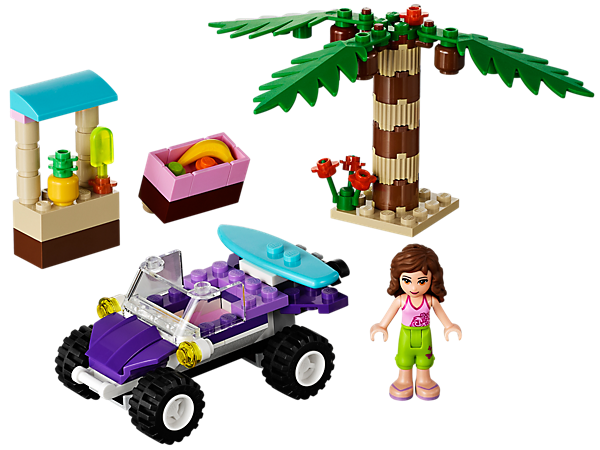 Take the pretty purple Beach Buggy to Ambersands Beach where Olivia is ready to surf the waves and have a snack under the coconut tree!