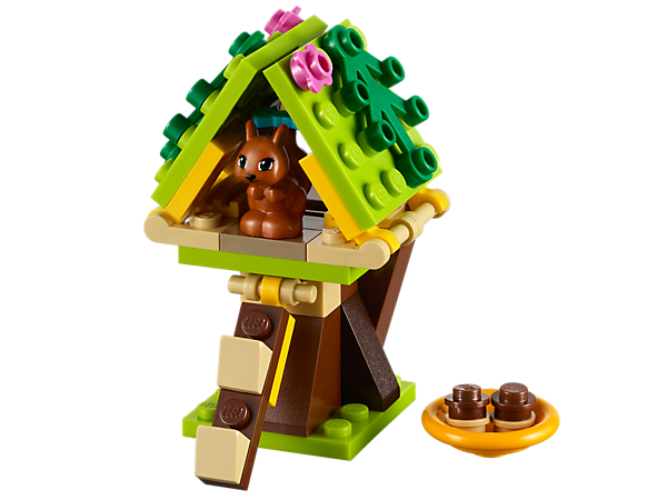 Build a home for the Heartlake City squirrel with opening roof, retractable ladder and acorn dish, then hop online to take care of her!