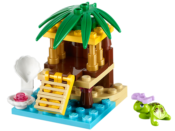 Create a Little Oasis for the turtle with a tiki hut, hinged ramp and a clamshell with a pearl inside, then go online to take care of him!