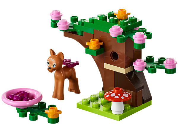 Build a beautiful forest home for the little fawn with flowers, leafy branches, mushrooms and berries, and then take care of her online!