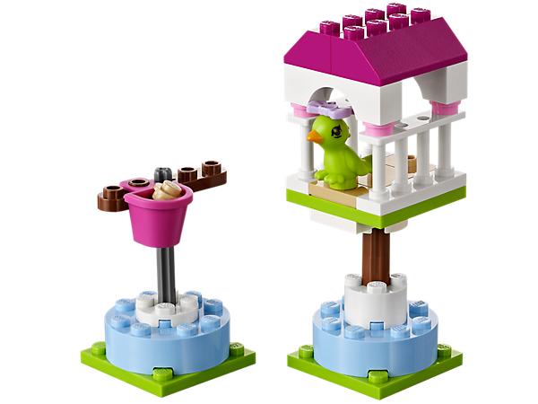 Build a pretty perch for the little parrot with columns, a pink roof and a seed tray, then take care of her online!