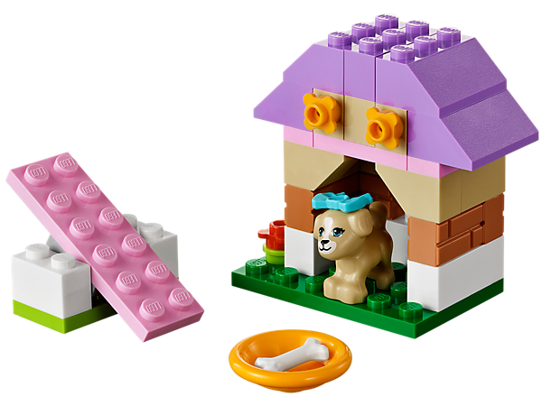 Build a fun playhouse for the little puppy with a seesaw, kennel, bone, dish, bow and flowers, then go online to take care of him!