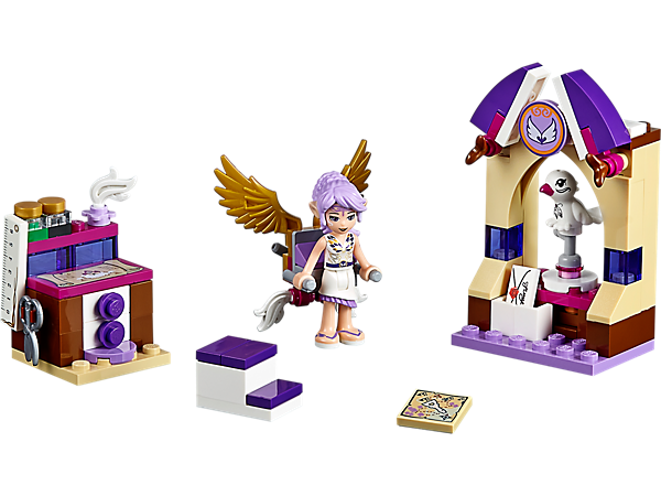 Dream up new inventions in LEGO® Elves Aira's Creative Workshop with Aira mini-doll, flying machine, bird with stand, work desk and a stool.