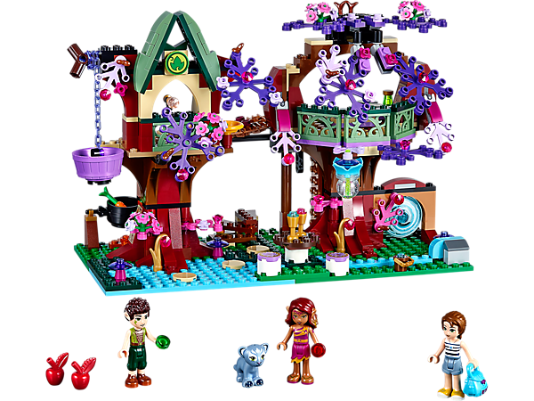 Explore the LEGO® Elves' Treetop Hideaway with 3 mini-doll figures, panther cub, opening leaf curtains, magic ladder bridge and more.
