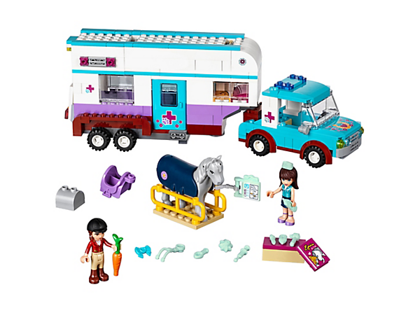 <p>Be on call with the Horse Vet Trailer including an SUV-style car, horse stretcher and veterinary tools to care for sick ponies. Includes 2 mini-dolls, plus a horse.</p>