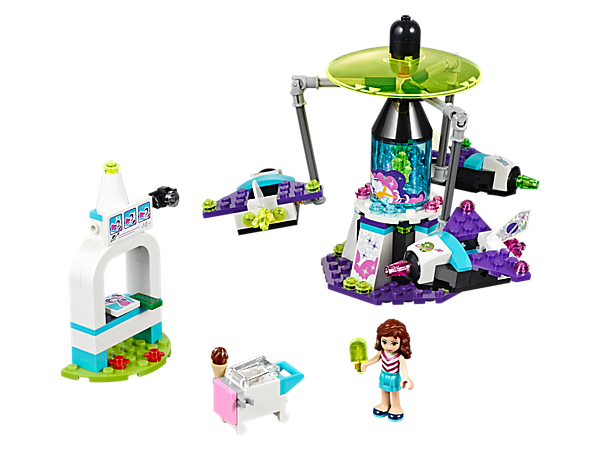 Spin the Space Ride faster and faster to see the 3 articulated arms lift the rocket seats higher and higher. Also includes a photo booth, ice cream stand and a mini-doll.