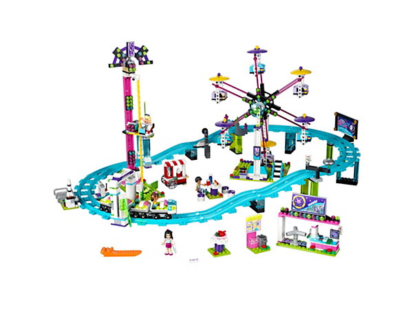 Ride in the roller coaster with functioning light, take a turn on the Ferris wheel, or spin down from the dizzy heights of the drop tower! Includes 4 mini-doll figures.