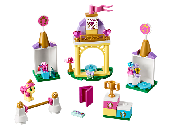 Jump your way to victory with Belle's pony, Petite, at her stable. After the competition, there's all a royal horse could need to relax and pamper herself.