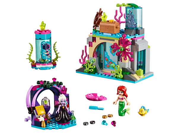 Play in Disney Princess™ Ariel's secret cave with sliding door, vanity, Ursula's grotto and a revolving stand to reveal human legs for Ariel.