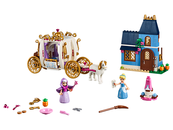 Go to the ball in Disney Cinderella's Carriage with opening roof and a horse figure to pull it, or play out your favorite scenes in her house with the 2 mini-doll figures.
