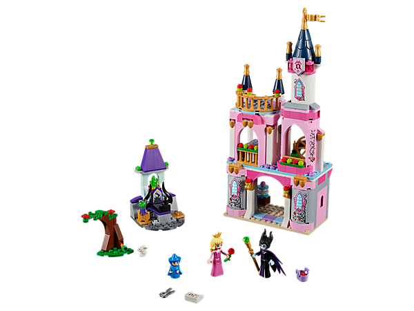 Celebrate Disney Aurora's 16th Birthday in Sleeping Beauty's Fairytale Castle with spinning wheel, vanity, bedroom, balcony and Maleficent's lair.