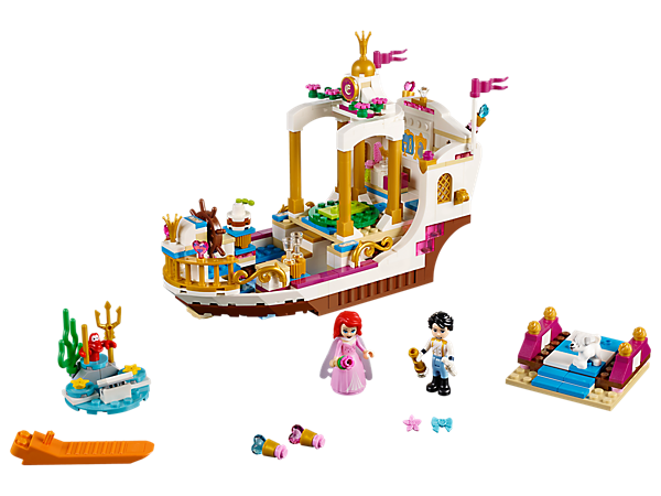 Reenact favorite scenes from Disney's The Little Mermaid on this celebration boat with gazebo and revolving dancefloor, firework launcher, hidden treasure and Sebastian's island!