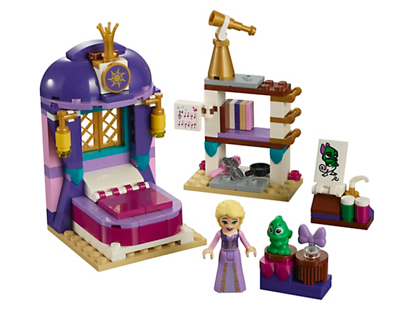 Explore LEGO® l Disney Rapunzel's Castle Bedroom with its books, music, paints, telescope and secret compartment, then help Rapunzel and Pascal escape out of the hidden tunnel!