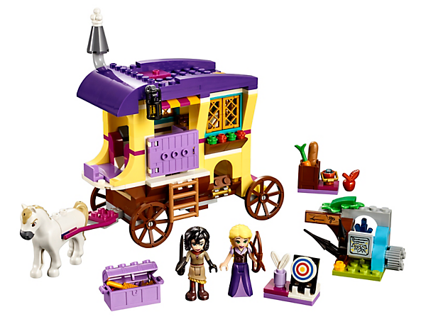 Go on a journey with Rapunzel, Cassandra, Maximus and their amazing open-up caravan with everything you need for sleepovers, cooking and adventures.