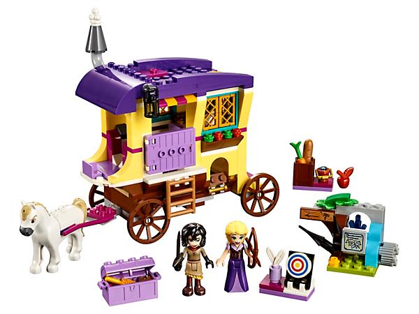 ¡Emprende un viaje con Rapunzel, Cassandra, Máximus y su increíble caravana! Cuenta con techo que se abre y está equipada con todo lo necesario para pasar la noche en ella, cocinar y vivir emocionantes aventuras.