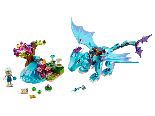 Hop on Merina the water dragon's back and fly around to explore new parts of Elvendale. Includes a waterfall and a water catapult, Naida Riverheart mini-doll and accessories.