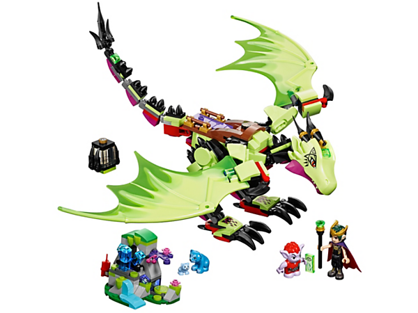 Fly with the Goblin King as he hunts for crystals on his mind-controlled dragon, Ashwing, plus a crystal cave with explosion function, Jimblin, Blubeary and Lil' Blu.