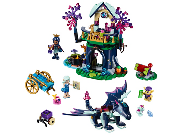 Guard the forest and help Naida with Rosalyn and her dragon Sapphire, featuring a tree with alchemy room and medical workstation, plus baby dragon, baby bear and goblin figures.