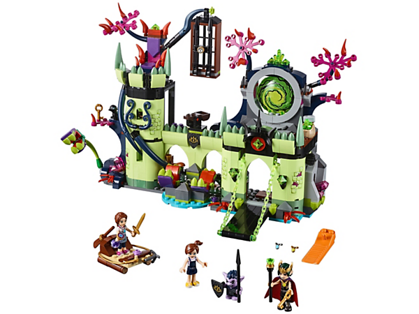 Help Emily Jones rescue Sophie Jones from the Goblin King's Fortress, featuring a portal, catapult and lowering drawbridge, plus goblin and shadow raven figures.