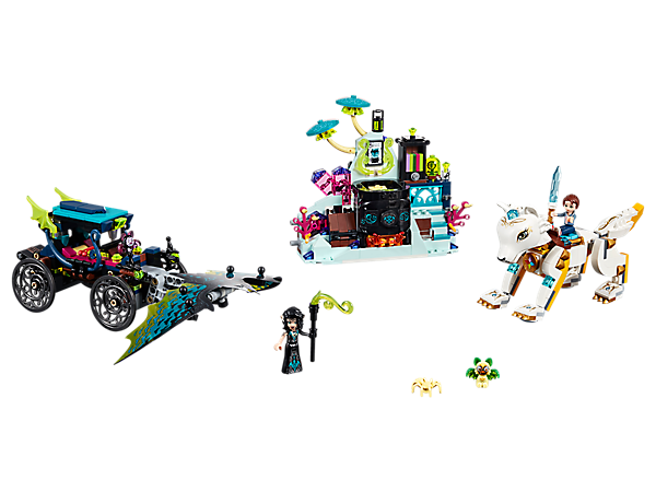 Protect Elvendale in Emily & Noctura's Showdown, featuring a laboratory with cauldron and a carriage with flapping wings. Includes 2 mini-doll figures, buildable wolf figure, 2 bat figures and a spider figure.