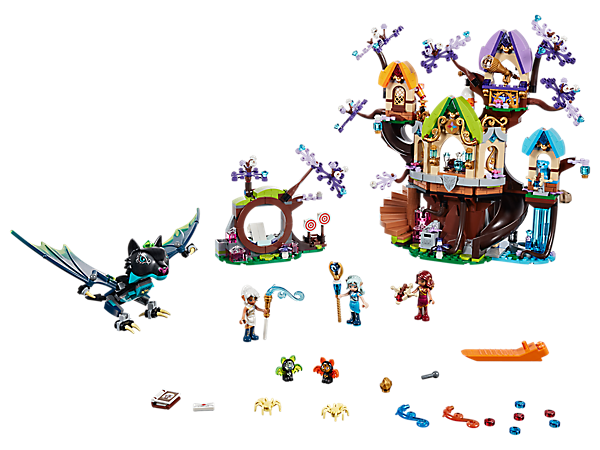 Defend the Elvenstar Tree in this LEGO® Elves set, featuring a 3-level tree with slide, transformation function, waterfall tower and portal, plus 3 mini-doll figures and a Noctura the evil bat figure.