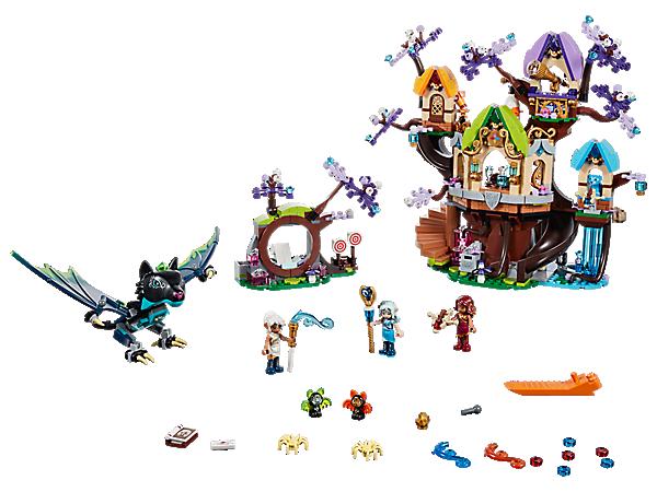 Beschütze den Elfen-Sternbaum in diesem LEGO® Elves Set, das einen Baum mit 3 Ebenen, eine Rutsche, eine Verwandlungsfunktion, einen Wasserfallturm und ein Portal sowie 3 Spielfiguren und Noctura als böse Fledermausfigur enthält.