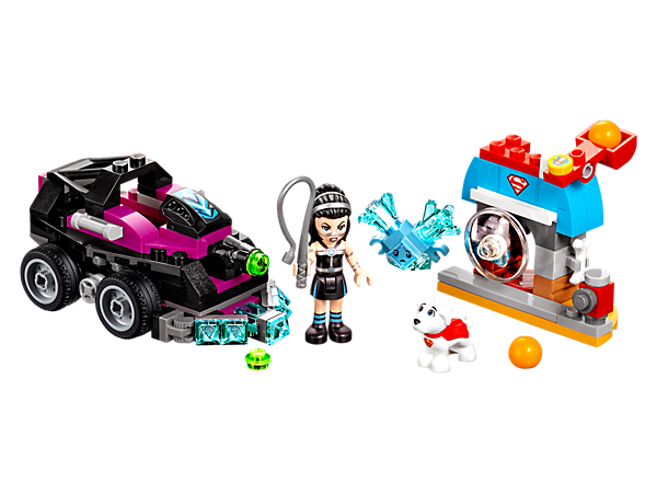 Help Krypto™ escape from Lashina's tank, featuring a Lashina™ mini-doll figure, tank with stud shooter, doghouse with catapult and a confused blue Kryptomite™.