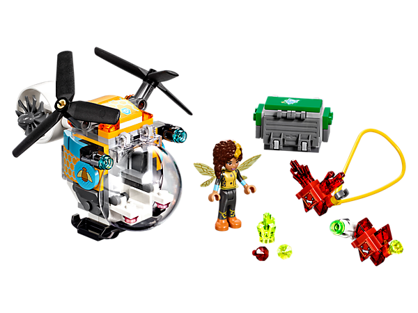 Help Bumblebee™ protect the crystals, featuring a helicopter with zipline and stud shooters, a dumpster for the crystals, mini-doll figure and two angry red Kryptomites.