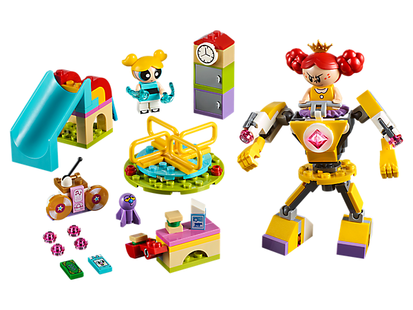 Hop on the merry-go-round and take a spin through Bubbles' Playground Showdown, featuring a mech suit, merry-go-round, lockers, lunch bench with catapult, 2 minifigures and an Octi figure.