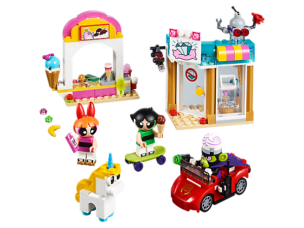 Help Blossom and Buttercup stop Mojo Jojo from stealing the diamonds! This fun set features an ice cream stand, jewelry shop and a getaway car, plus 3 minifigures, and robot and unicorn figures.