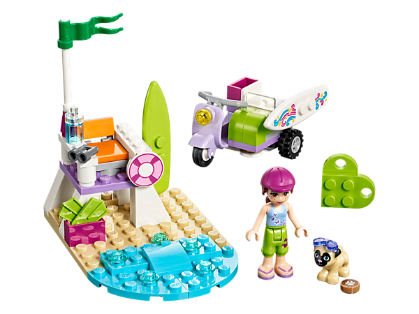 <p>Join Mia and her Pug dog Toffee in her super-cool purple scooter to go surfing at the beach with a lookout chair, binoculars and beach accessory elements.</p>