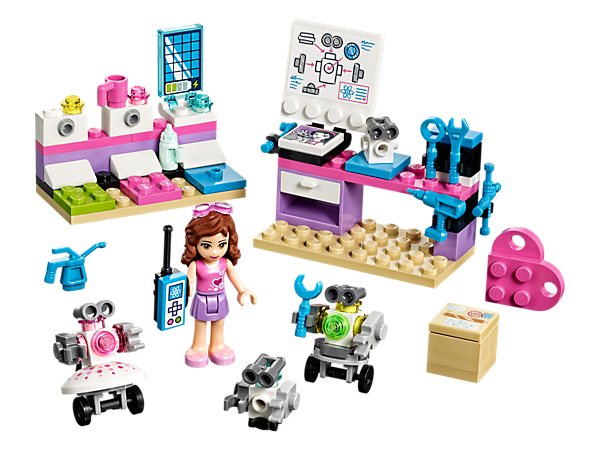 <p>Invent and create a robot family with Olivia in her creative lab, featuring a desk with drawing board and tools, plus a docking station with space to charge three buildable robot figures.</p>