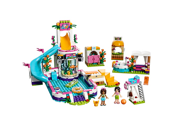 <p>Chill out on a hot day at the Heartlake Summer Pool with a super-fun slide, swim-up bar, hot tub, day bed, shower, lifeguard stand, restroom and two mini-doll figures.</p>
