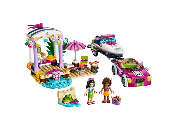LEGO® Friends Andrea's Speedboat Transporter includes a sporty beach car and trailer, speedboat and a beach party scene with juice bar, barbecue, sun loungers, plus 2 mini-doll figures.