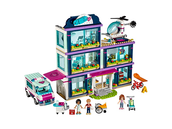 Care for patients at Heartlake Hospital with an ambulance, helicopter, waiting room, examination room, x-ray suite and a nursery, plus 3 mini-doll figures.