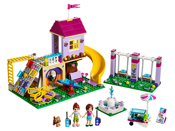 <p>Explore and play at Heartlake City Playground with tree house, climbing wall, slide, functioning swings, merry-go-round and seesaw. Includes 2 mini-dolls plus a dog figure.</p>