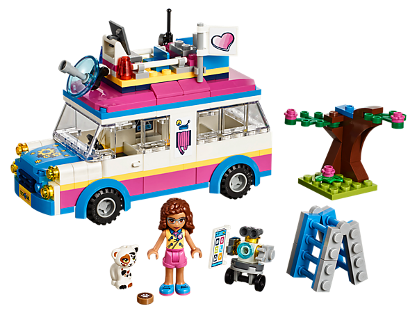Rush to help the little cat stuck in a tree with LEGO® Friends Olivia's Mission Vehicle, featuring a rooftop control center and room for lots of friends inside!