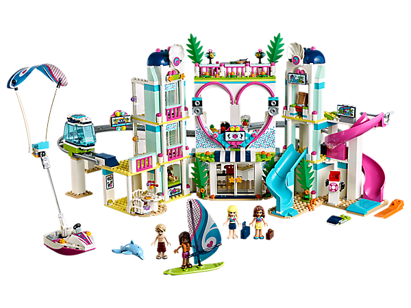 Make a splash at the LEGO® Friends Heartlake City Resort featuring a hotel with 2 bedrooms, monorail, water park with 2 slides, and a beach area with water scooter and parasailer.