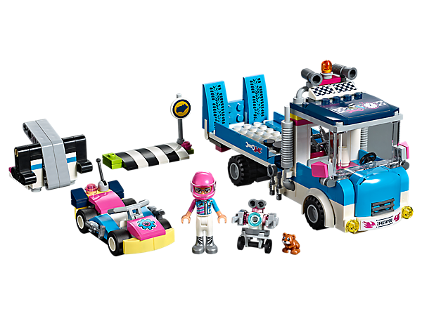 The LEGO® Friends Service & Care Truck features a tipping tow truck with rope function and a workshop platform with lifting function, plus Olivia's go-kart and go-kart launcher.