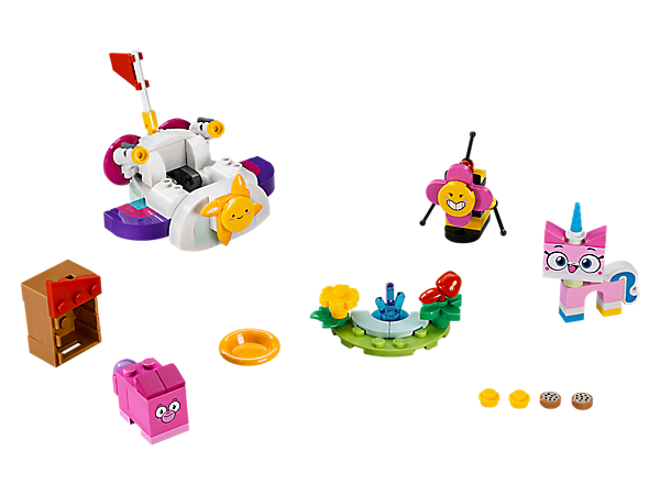The fun and colorful Unikitty™ Cloud Car features a spinning sunshine propeller, 2 sparkle matter stud shooters and a flag, plus a small park scene, Square Bear's house and 3 buildable figures.