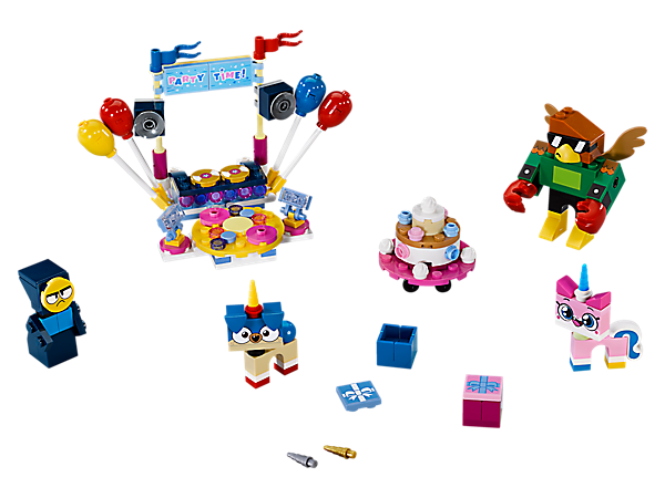 LEGO® Unikitty!™ Party Time has everything you need to throw the ultimate party, including a DJ booth, dancefloor, speakers, lights, giant cake and 4 buildable friends to join the fun.
