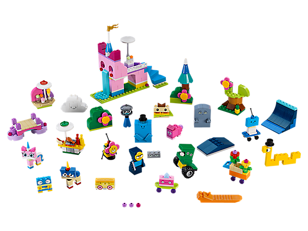 Get creative with a handy storage box full of colorful bricks to create all kinds of scenery and 16 amazing characters from Unikingdom, building confidence and imagination along the way.